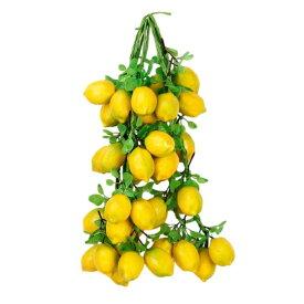 食品サンプル 吊るし果物 フルーツ 葉っぱつき 4本セット (レモン)