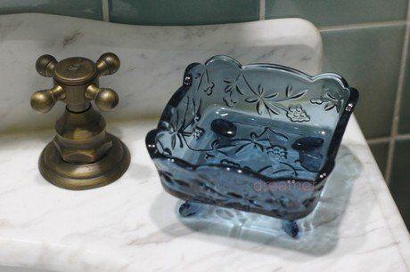 ソープディッシュ アンティーク風 ガラス製 (ブルー)