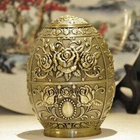 爪楊枝ケース ヨーロピアン風 卵型 プッシュ式 (バラ, ゴールド)