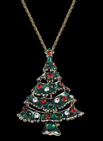 【メール便送料無料・お届け日時指定不可】2wayアクセサリー ブローチ ネックレス クリスマスツリー チェーン付き