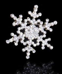 ブローチ 雪の結晶 キラキラ 2個セット (ゴールド) 【送料無料】