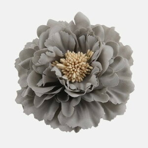 コサージュ ヘアアクセサリー 牡丹の花 大きめ (グレー)