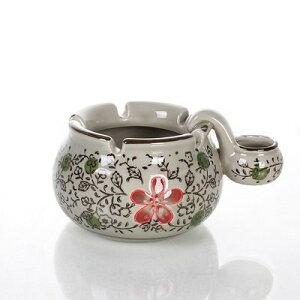 灰皿 和モダン 花模様入り 小壺付き 陶器製 (レッド)
