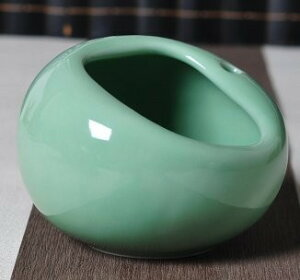 灰皿 コロンとした形 和風 陶器製 (ライトグリーン)