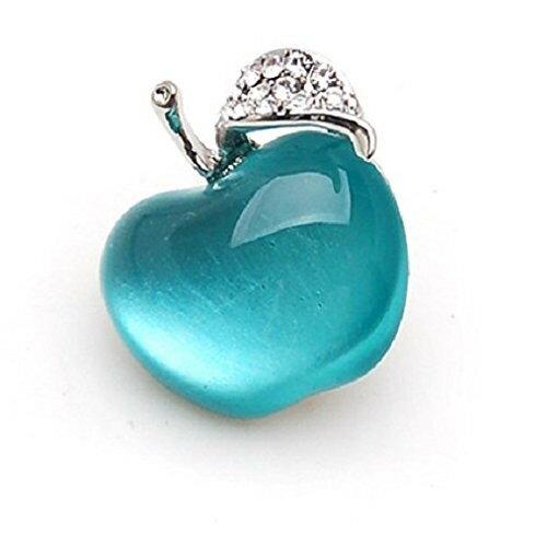【メール便送料無料・お届け日時指定不可】ピンバッジ りんご 宝石のようなドロップカラー キラキラの葉 (ブルー)