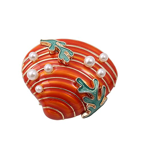 ブローチ オレンジの貝殻 シェル 海藻 パール風装飾付き 【送料無料】
