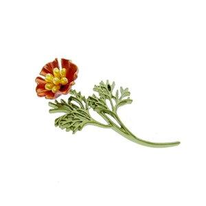 ブローチ 可憐な赤い花 フラワー 【送料無料】
