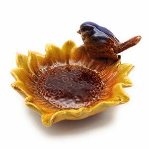 小物入れ 小物トレイ お花型の器 一羽の小鳥 陶器製 (イエロー)