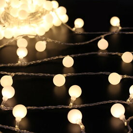 デコレーションライト LED 電球 丸型 オーナメント 50連 電池式 (電球色)
