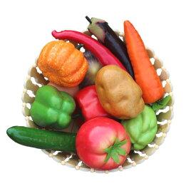 食品サンプル どっさりお野菜 タマゴ 12種類セット 竹カゴ入り