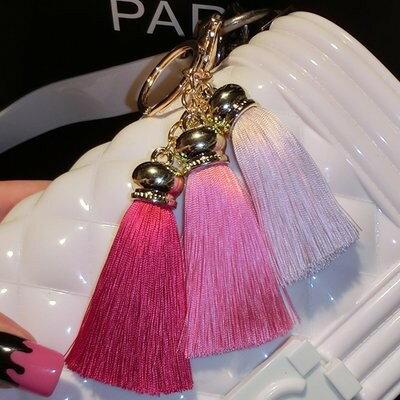 キーホルダー 3色フリンジ 同系色 ハイセンス (ピンク系カラー)