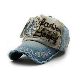 キャップ 帽子 アメカジ風 星 スタッズ付き ダメージタイプ (ブルー)