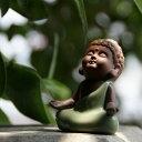 置物 茶玩 紫砂 瞑想するかわいい仏像 陶器製 (座禅)