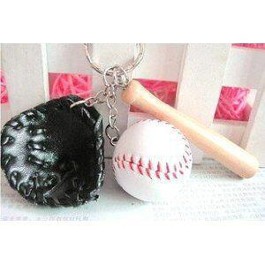 キーホルダー ミニ野球 ボール グローブ バット 3点セット (ブラック)