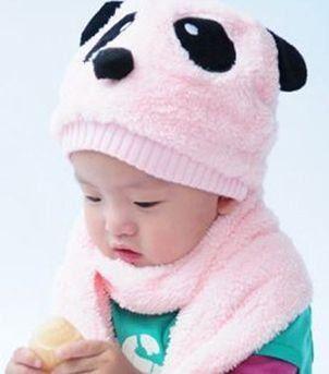ニット帽 マフラー セット パンダ キッズ用 2点セット (ピンク)