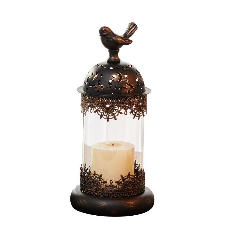 キャンドルホルダー 小鳥モチーフ ガラスの彫刻風 アンティーク調 ブラック (小サイズ)