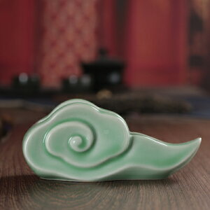 名刺立て 雲型 和モダン 中国風 陶磁器製 (グリーン)
