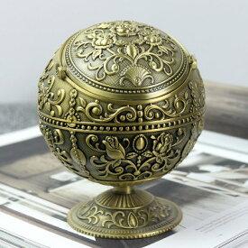 灰皿 薔薇の模様のふた付き 球型 ヨーロピアンアンティーク風 花柄 ミニスタンド (ゴールド)