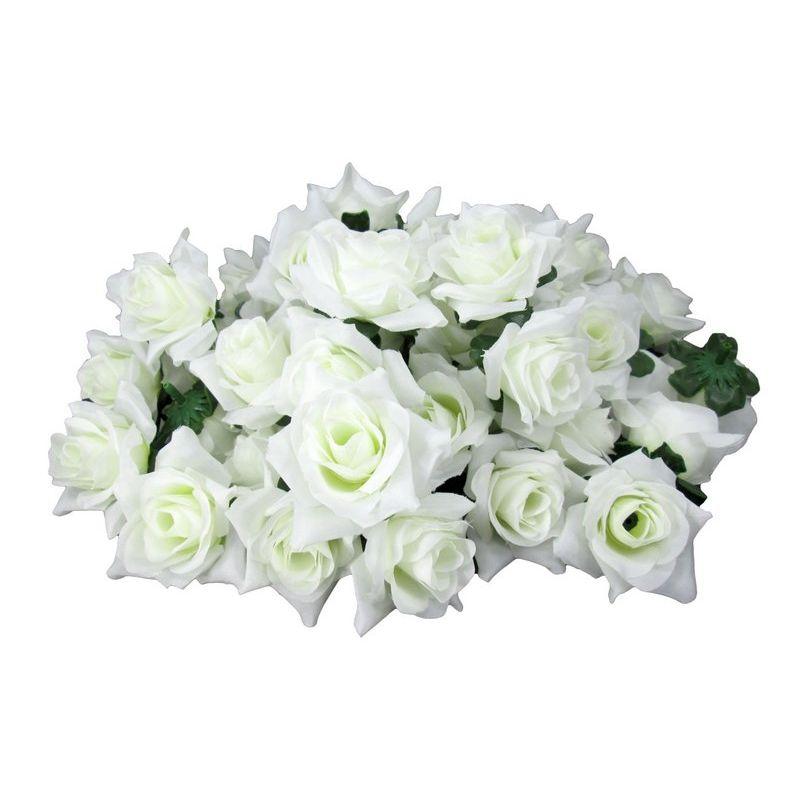 造花 バラ 花のみ 5センチ 100個 (ホワイト)