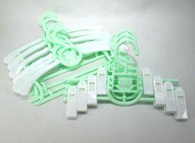 ハンガー ズボンハンガー セット 子供用 伸縮式 動物 パステルカラー (10本セット, グリーン)