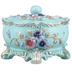 灰皿 エレガントなフラワーデザイン ヨーロピアン風 円形 蓋付き (ライトブルー)