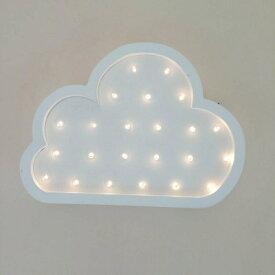 壁掛けオブジェ 雲モチーフ パステルカラー LEDライト 電池式 (ホワイト)