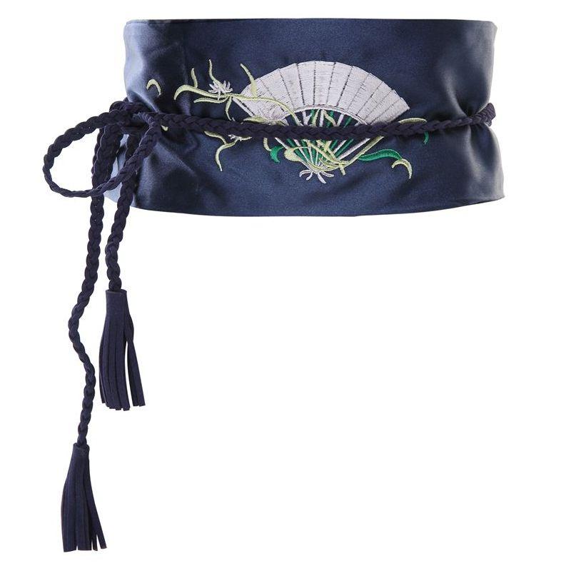 サッシュベルト 和風 着物帯風 優雅な扇の刺繍入り (ネイビー) 【送料無料】