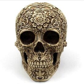置物 おしゃれな花模様の骸骨 スカル アンティーク風