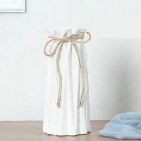 フラワーベース 長いラインのカット入り 筒型 リボン付き 陶磁器製 (ホワイト)