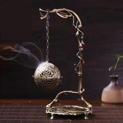 香炉 吊り下げ式 球体 竹モチーフの吊り下げ台 アンティーク風 鉄製