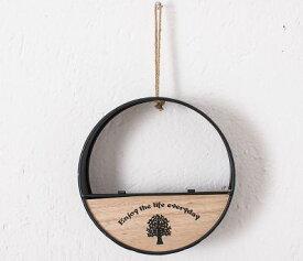 フラワーポット 造花 エアプランツ用 壁掛け ツリー柄の木製プレート カントリー風 鉄製 (丸×ブラック)