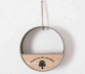 フラワーポット 造花 エアプランツ用 壁掛け ツリー柄の木製プレート カントリー風 鉄製 (丸×グレー)