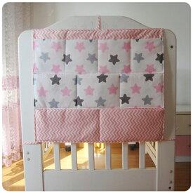 d508ab34b445f ベッドサイドポケット ベビーベッド用 ウォールポケット 大容量 ポップ柄 (星×ピンク