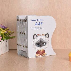 ブックスタンド 本立て 伸縮タイプ 猫の女の子 イラスト アイアン製 (Bタイプ)