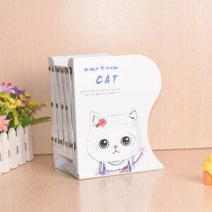 ブックスタンド 本立て 伸縮タイプ 猫の女の子 イラスト アイアン製 (Cタイプ)