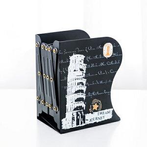 ブックエンド 伸縮タイプ 世界の観光地 イラスト アイアン製 (ピサの斜塔)