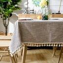 テーブルクロス シックな色合い タッセル付き カントリー風 ブラウン (長方形A 140×180cm)
