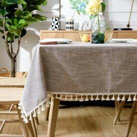 テーブルクロス シックな色合い タッセル付き カントリー風 ブラウン (長方形A 145×180cm)