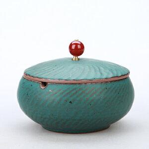 灰皿 波紋 ルビーのような取っ手付きの蓋 和モダン風 陶磁器 (ブルー)