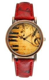 腕時計 ピアノ鍵盤 音楽 アンティーク風 レザー (レッド)
