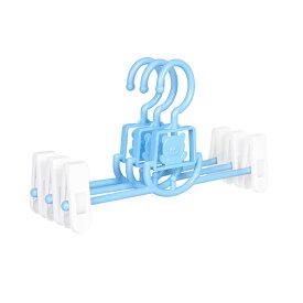 ズボンハンガー 子供用 伸縮式 動物 パステルカラー (3本セット, ブルー)