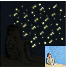 ウォールステッカー きらきら星空 流れ星 癒し 蓄光