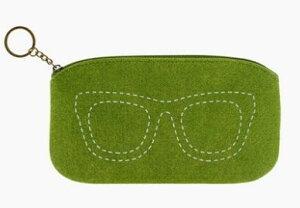 【在庫処分セール】ポーチ メガネケース シンプル 眼鏡のステッチ フェルト製 (グリーン) 【送料無料】
