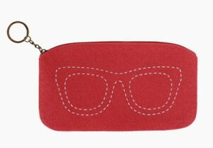 ポーチ メガネケース シンプル 眼鏡のステッチ フェルト製 (レッド) 【送料無料】