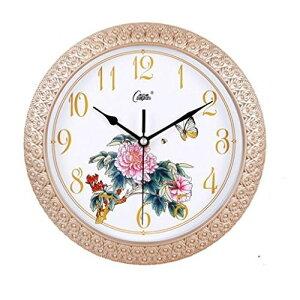 掛け時計 エレガント 牡丹の花 蝶々イラスト 丸型 (ゴールド)