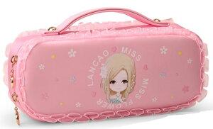 ペンケース ポーチ バッグ型 キュートな女の子 イラスト フリフリレース (ピンク)