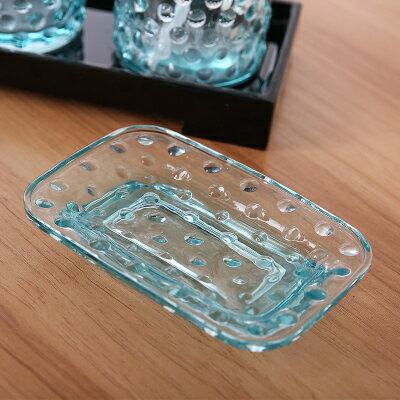 ソープディッシュ レトロデザイン 淡いブルー ガラス製 (長方形)