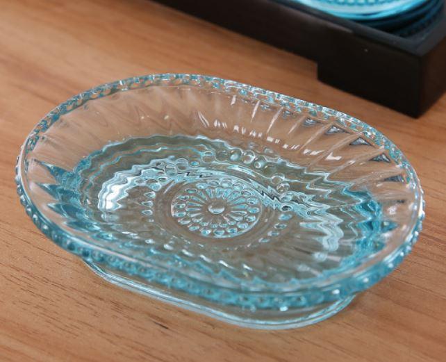 ソープディッシュ レトロデザイン 淡いブルー ガラス製 (楕円形)