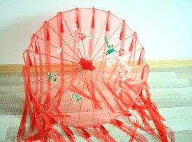 コスプレ 番傘 和傘 花柄 タッセル&ロングリボン付き 布製 (レッド)