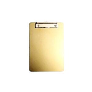 クリップボード ゴールドカラー スタイリッシュ 金属製 壁掛け用フック付き (B6サイズ) 【送料無料】